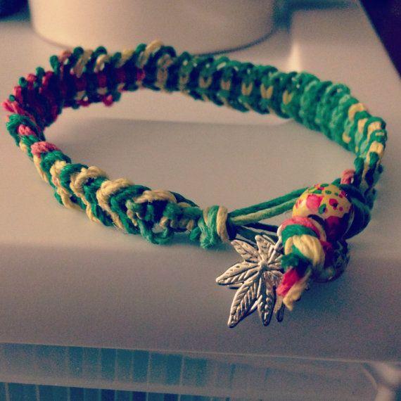 Wide Ganja Rasta Hemp Bracelet