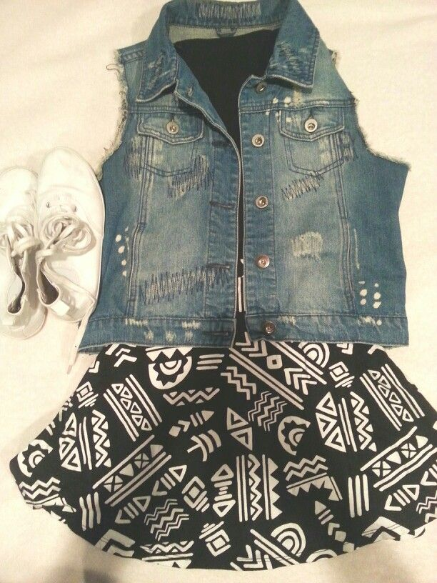 Tribal circle skirt | Denim Vest | Plain Black Tank Top | White High Tops | Hair in Ponytail | Warm Summer Day