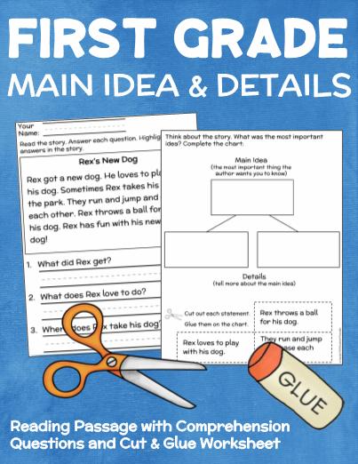 First Grade Main Idea and Details Worksheet | First grade ...