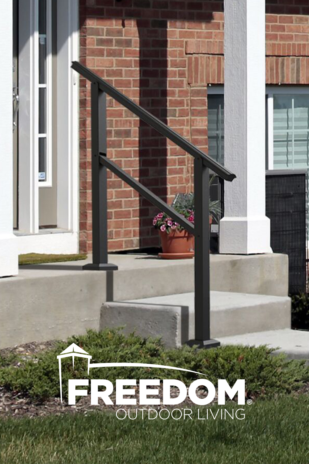 Freedom Assembled 4 159 Ft X 3 45 Ft Heathrow Matte Black | Lowes Exterior Handrails For Steps | Concrete | Aluminum Handrail Kit | Deck Stair | Wrought Iron | Baluster