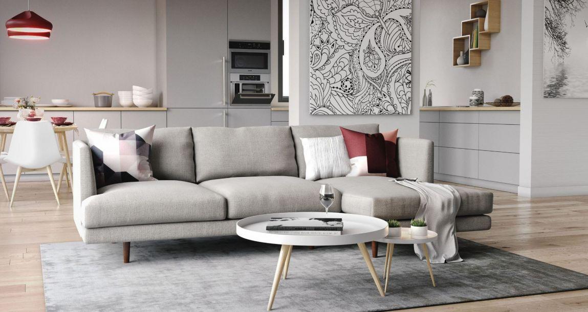 Elton Sectional Sofa Light Gray Fabric Right Sectional Sofa Sectional Grey Fabric