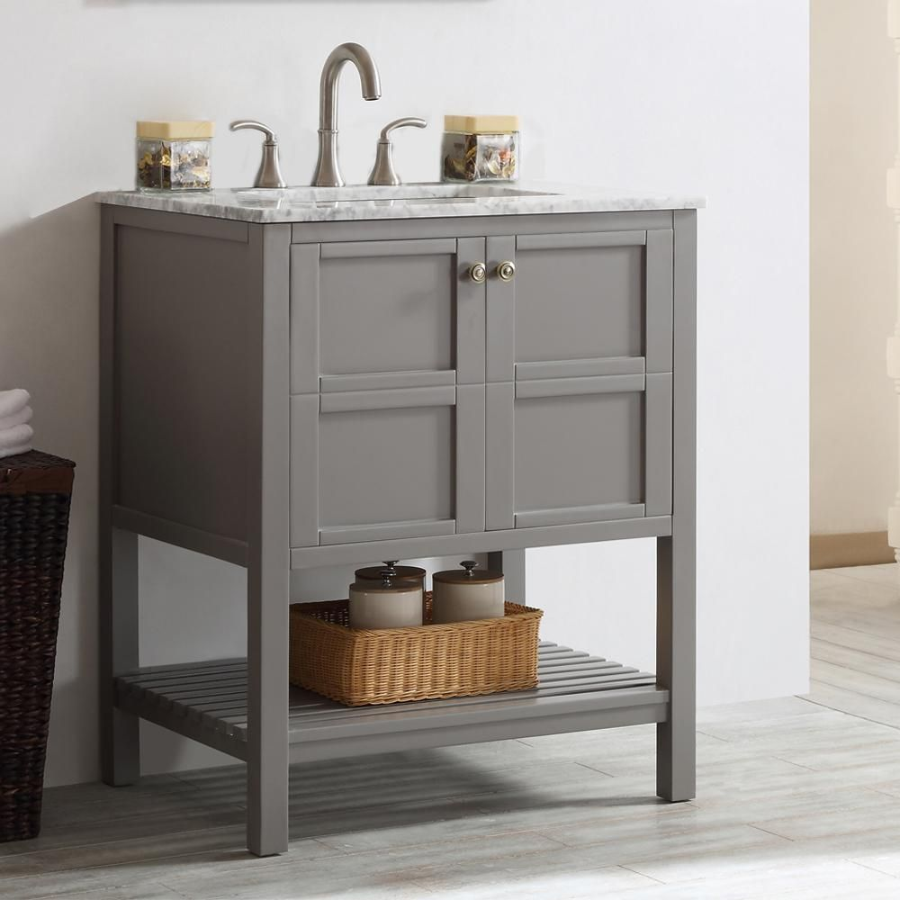 Vinnova Florence 30 In W X 22 In D X 35 In H Vanity In Grey With Marble Vanity Top In White With B Single Bathroom Vanity Bathroom Vanity Marble Vanity Tops