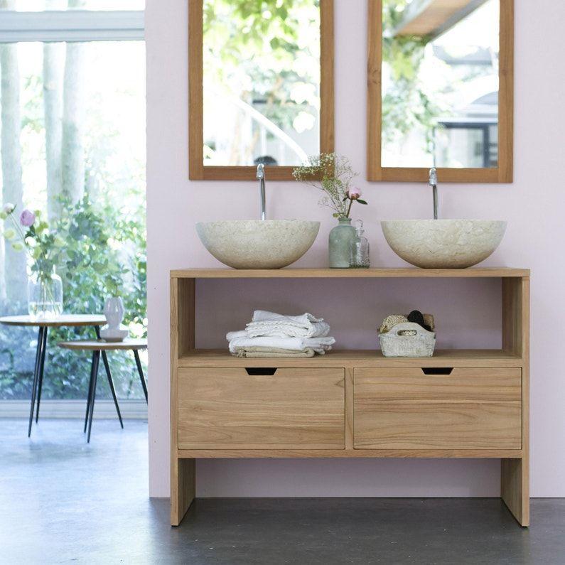 Meuble Double Vasque L 110 X H 78 X P 50 Cm Teck Naturel Kwarto Tikamoon En 2020 Meuble Sous Vasque Meuble Double Vasque Et Meubles En Teck