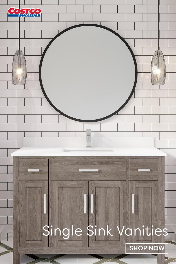 Katie 48 Gray Vanity By Studio Bathe In 2020 Gray Vanity Bathroom Style Round Mirror Bathroom