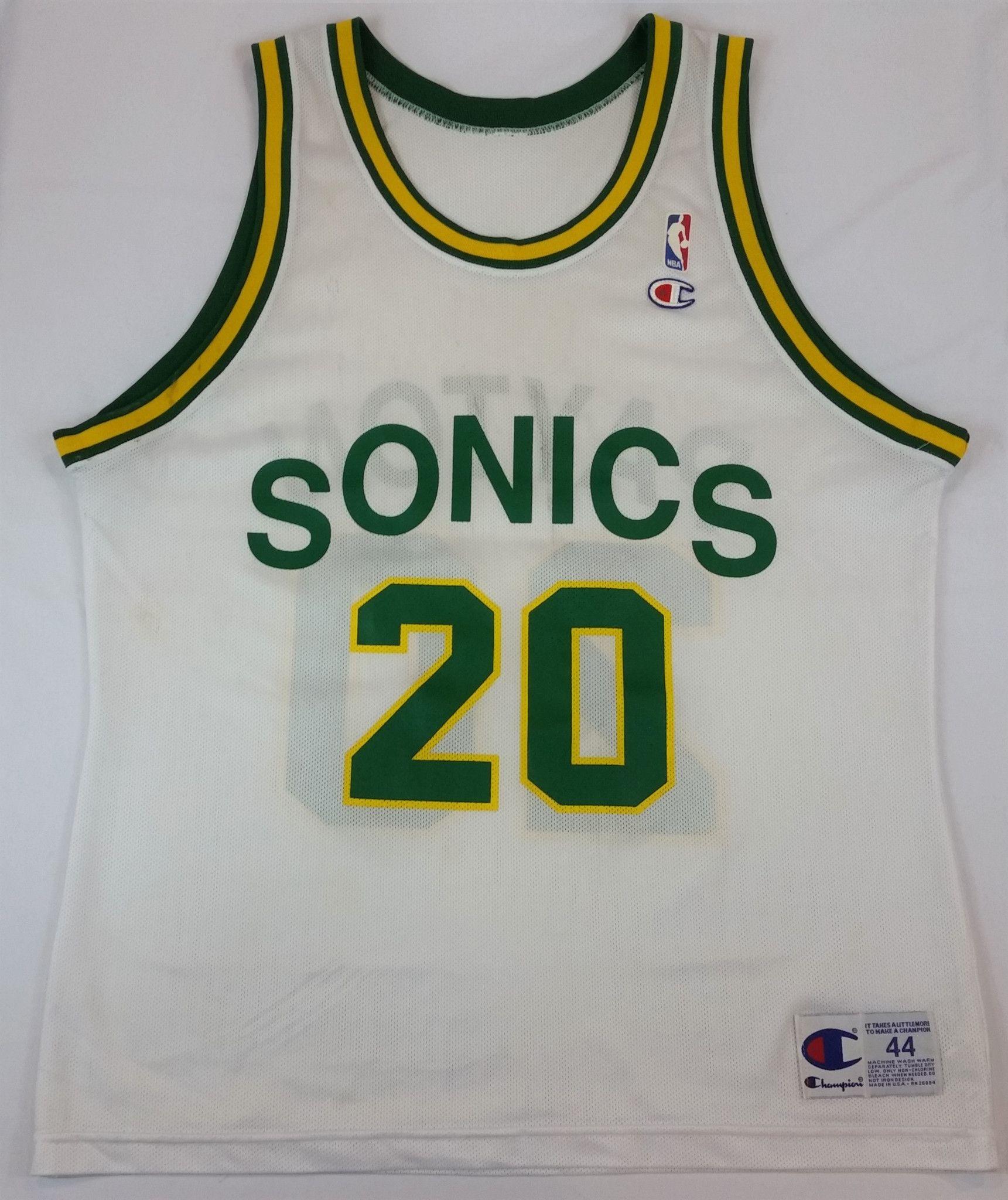 6c8b08b49 Gary Payton  20 Champion Jersey Vintage Seattle Supersonics NBA Rare Mens 44