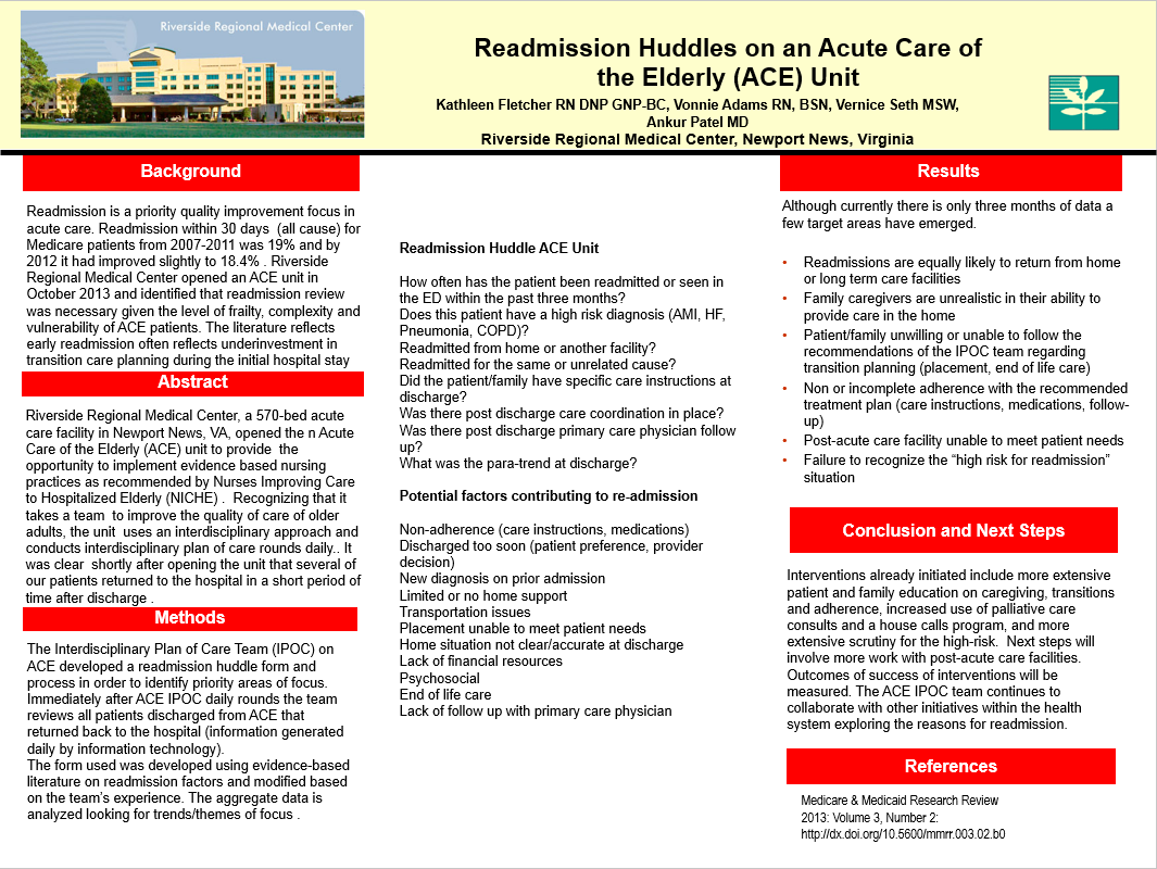 Readmission Huddles On An Acute Care Of The Elderly Ace Unit Acute Care Regional Medical Center Healthy Aging