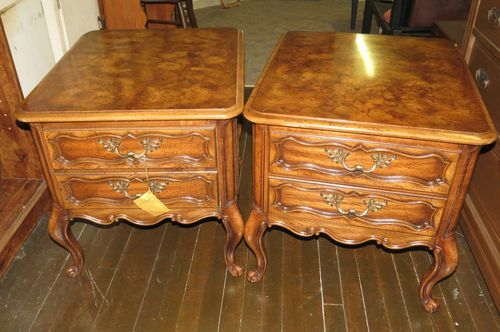 Mid Century Modern French Provencial Weiman End TablesMarblized Top