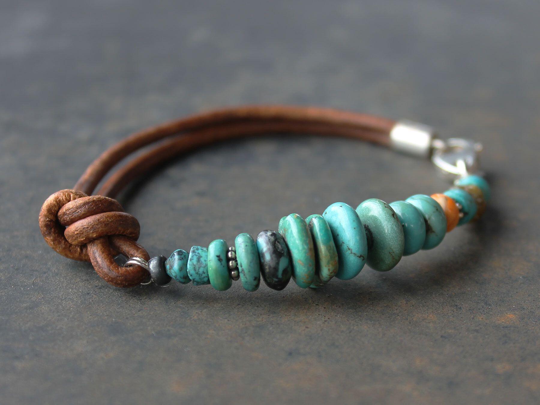 666717c3d93 Colorful boho bracelet -Sundance Style leather, spiny oyster turquoise stacking  bracelet, handmade jewelry