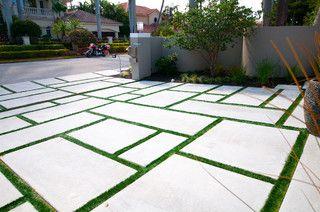 miami tropical main entrance landscape design ideas pictures remodel and decor - Concrete Driveway Design Ideas