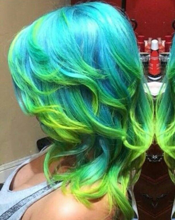 Turquoise blue green dip dyed hair color @embee.meche @hairitagesaloncarlsbad