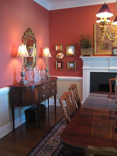 Love This Color Wallpaper Below Chair Rail Red Dining Room Dining Room Colors Dining Room Paint