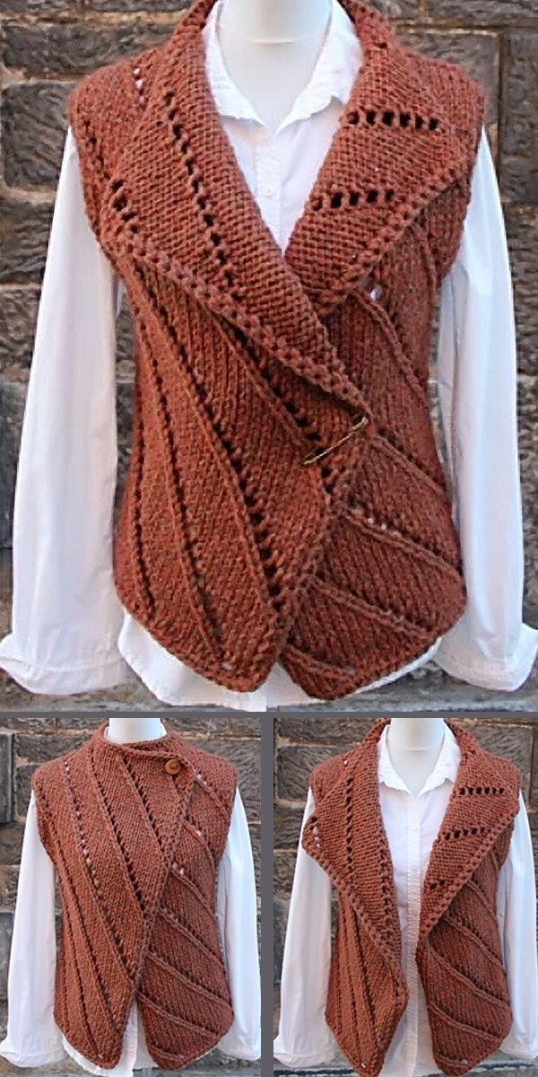 Knitting Pattern for Diagonal Lines Vest in Super Bulky Yarn