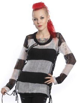 Miss Krueger Knitted Black White Top