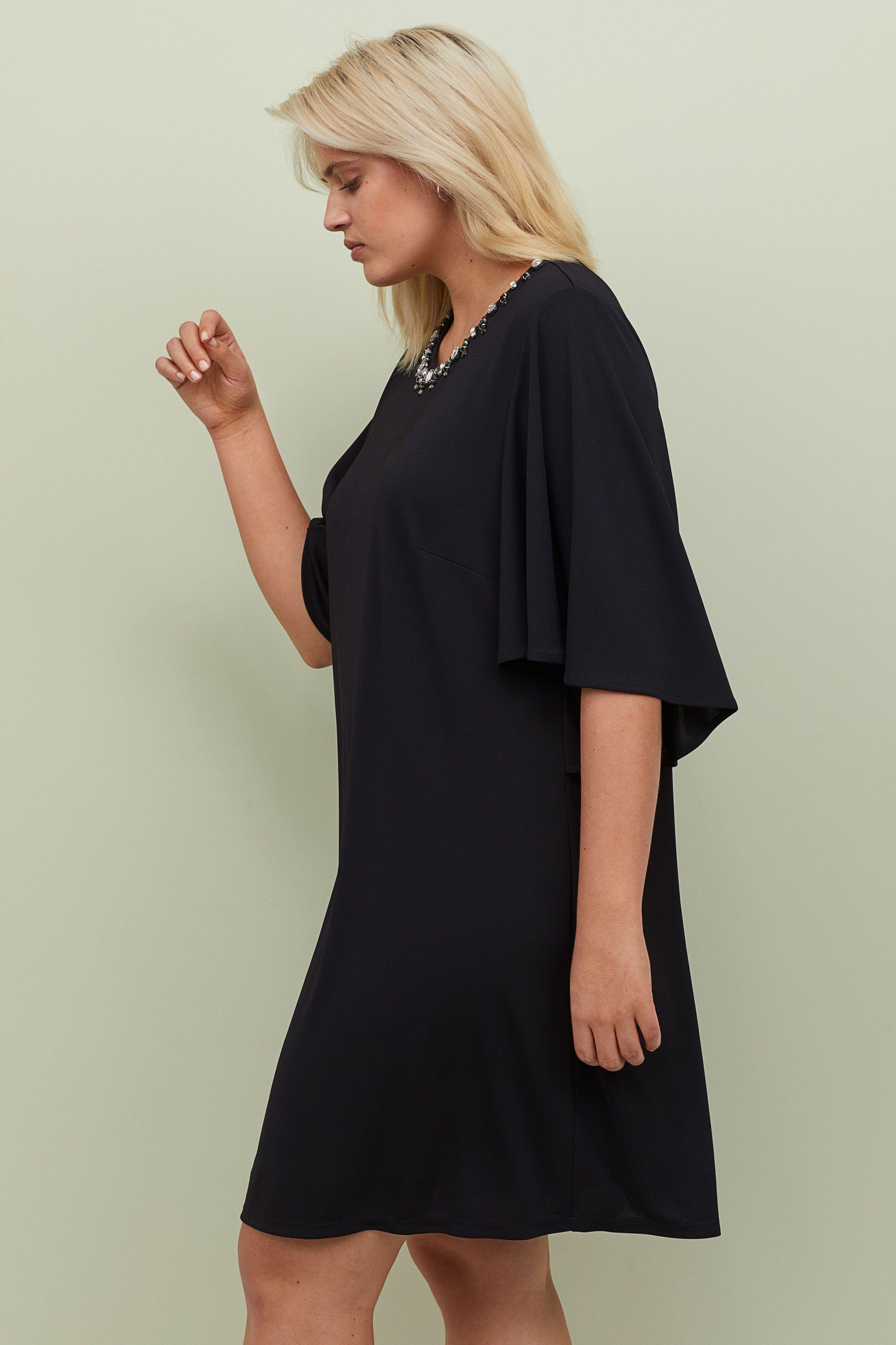 68ba52b13b6f H&M H&M+ Butterfly-sleeved Dress - Black in 2019 | Stella Duval ...