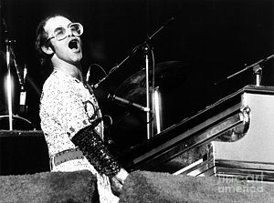 Rock And Roll Photograph - Elton John 1975 Dodger Stadium by Chris Walter