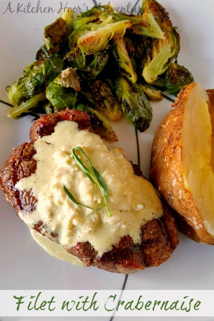 Filet with Crabéarnaise is a recipe mashup of my favorite dinner; crab cake and filet with béarnaise. I've put the crab meat in the bernaise for an amazing sauce to top tender beef. Filet and Crabernaise is tender, succulent, and silky; perfect for a special meal or a Sunday supper.