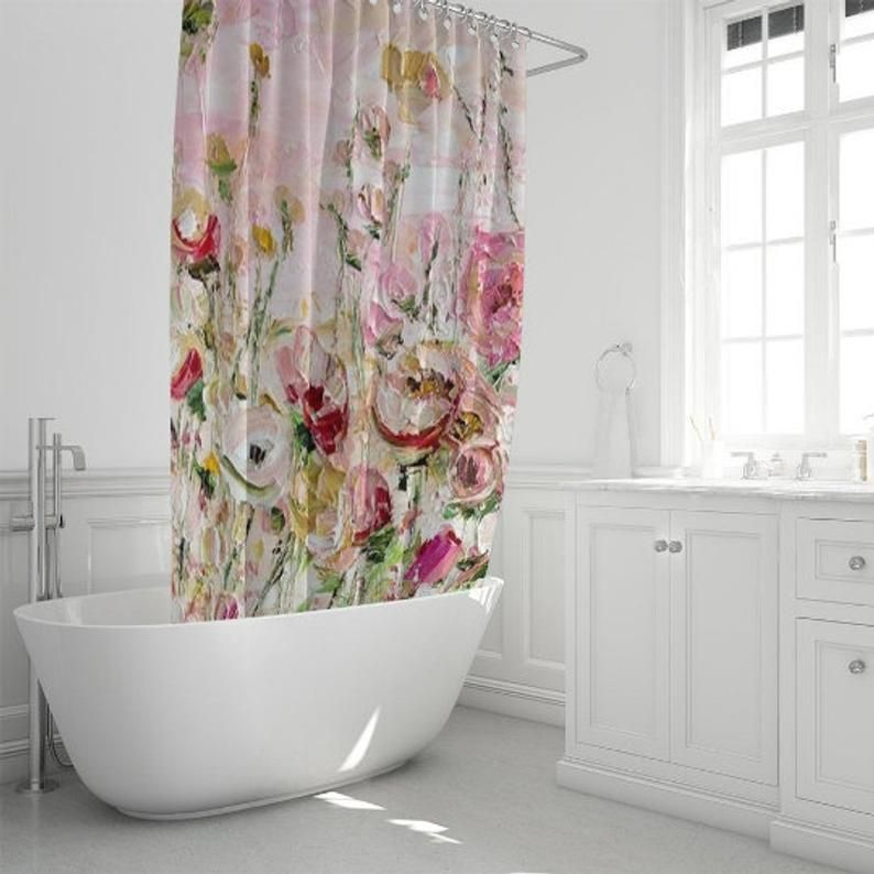 Painted Shower Curtain Hand Made Shower Curtain Custom Bathroom Curtain Boho Shower Curtain Farmhouse Decor Water Colour Bath Curtain In 2020 Shower Curtain Decor Boho Shower Curtain Painting Shower