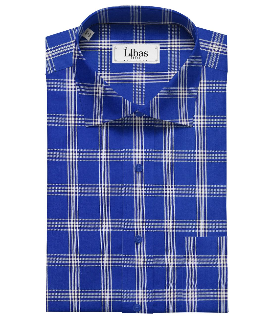 921cfca5 Cadini Italy by Siyaram's Royal Blue 100% Giza Cotton Broad Checks Shirt  Fabric (1.60 M)