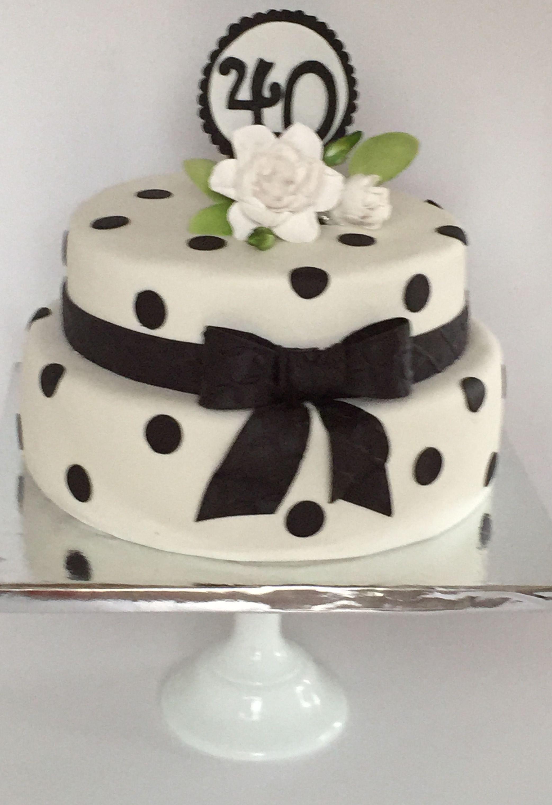 Cakesbykirsten Black And White Theme Birthday Cake With Gardenia Blackwhitethemecake 4othbirthdaycake