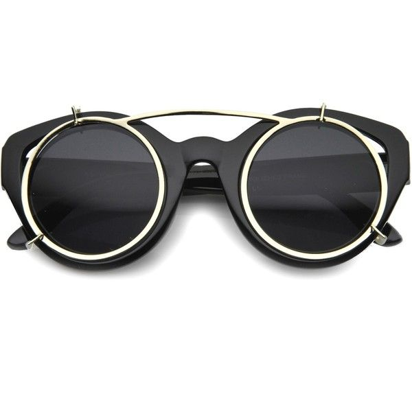202820a223 Limited retro steampunk round cat eye clip on sunglasses 9957 ( 15) ❤ liked  on