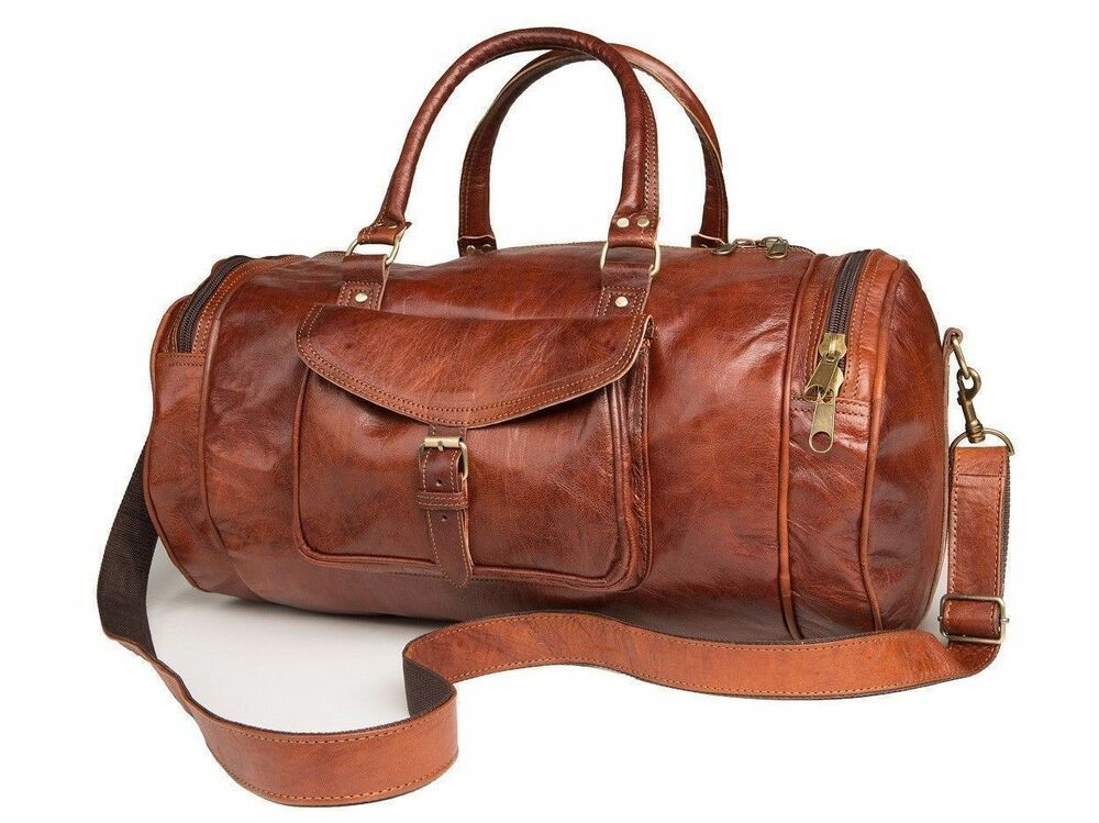 "24/"" Men/'s genuine Leather luggage gym weekend overnight duffle bag large vintage"