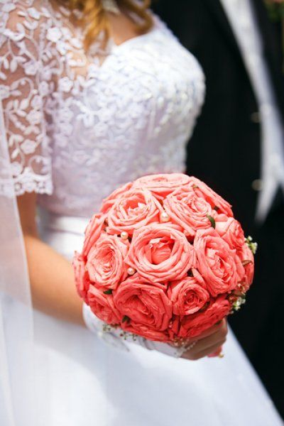Pink Rose Bridal Bouquet with Pearl Accents