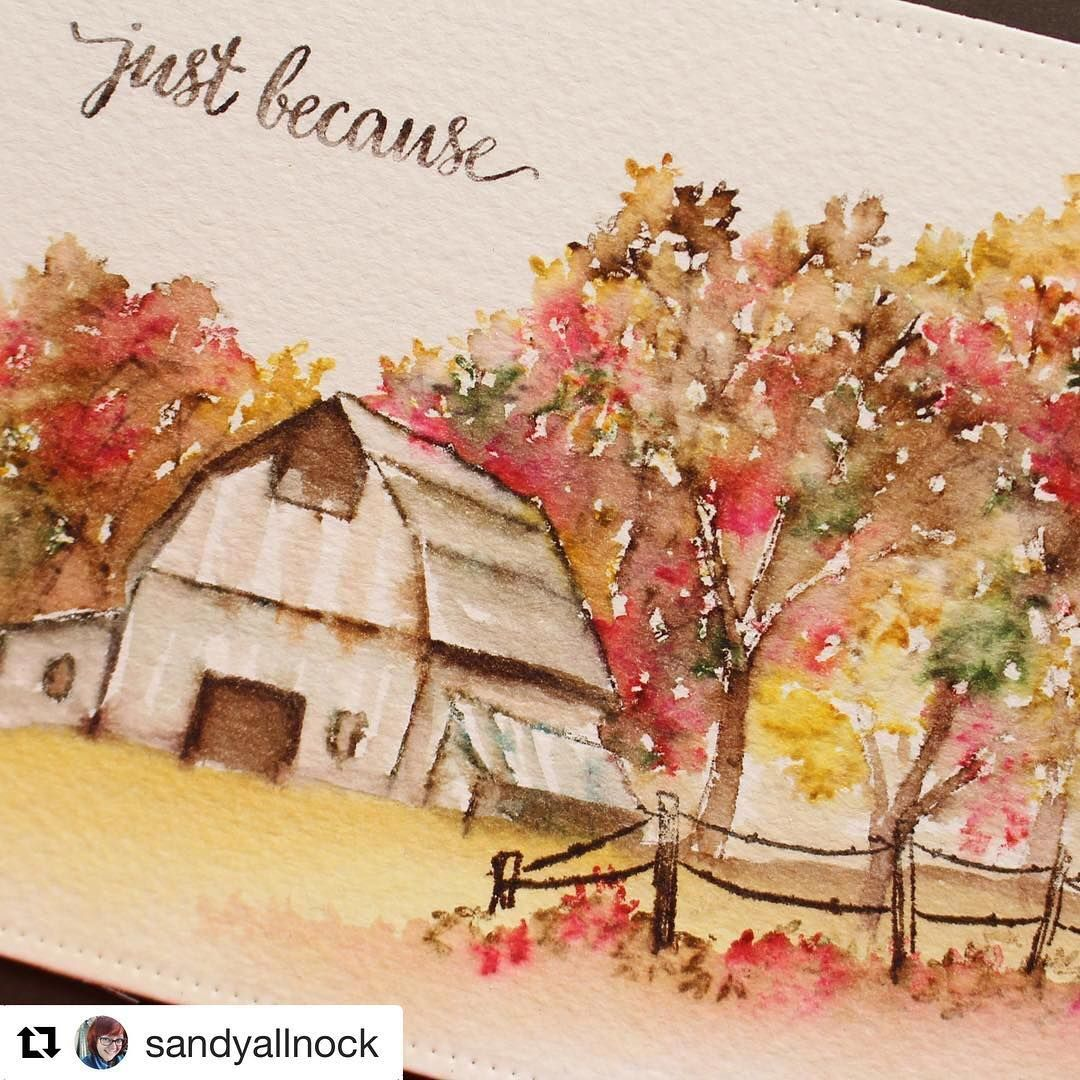 WOW! @SandyAllnock created this stunning video using our Old Barn and Covered Bridge Mini Watercolor stamps! A must-see! 😍 Video on her blog - SandyAllnock.com #AiWatercolor #AiStamps