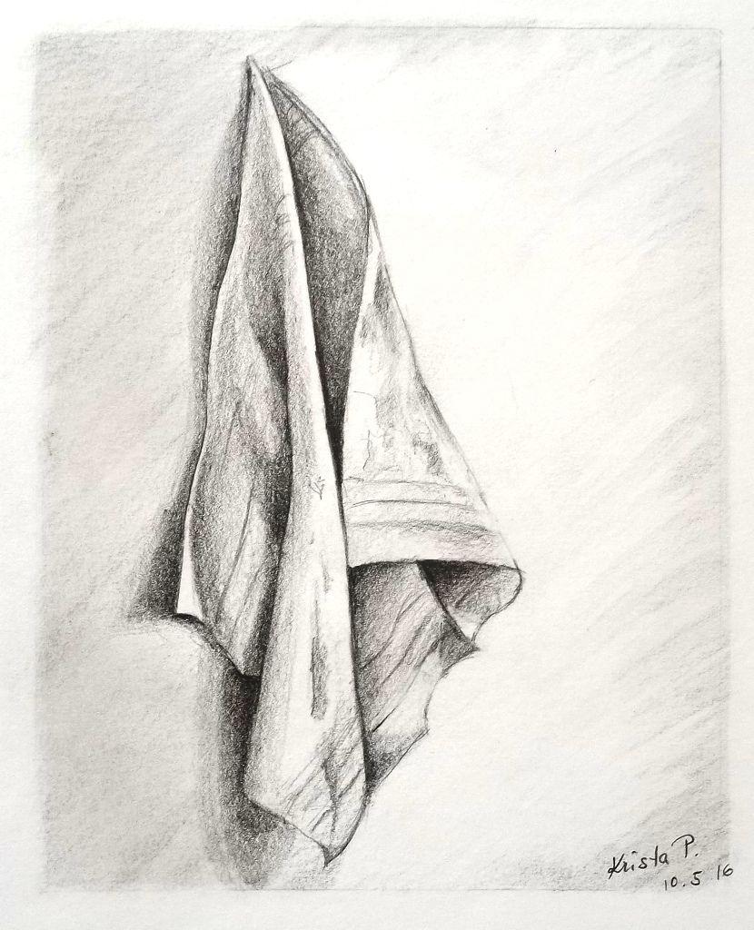Draped cloth, pencil, study, artist Kristýna Pavluvčíková.