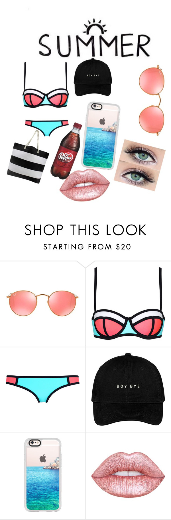"""Summer ☀️✨"" by jamillakin on Polyvore featuring mode, Ray-Ban, Casetify en Lime Crime"
