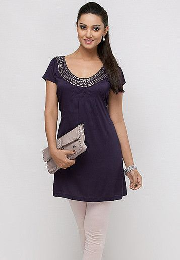 Knee Length Purple Kurti With Neck Embelishments Online Shopping - Pluss   PL299WA79EOUINDFAS