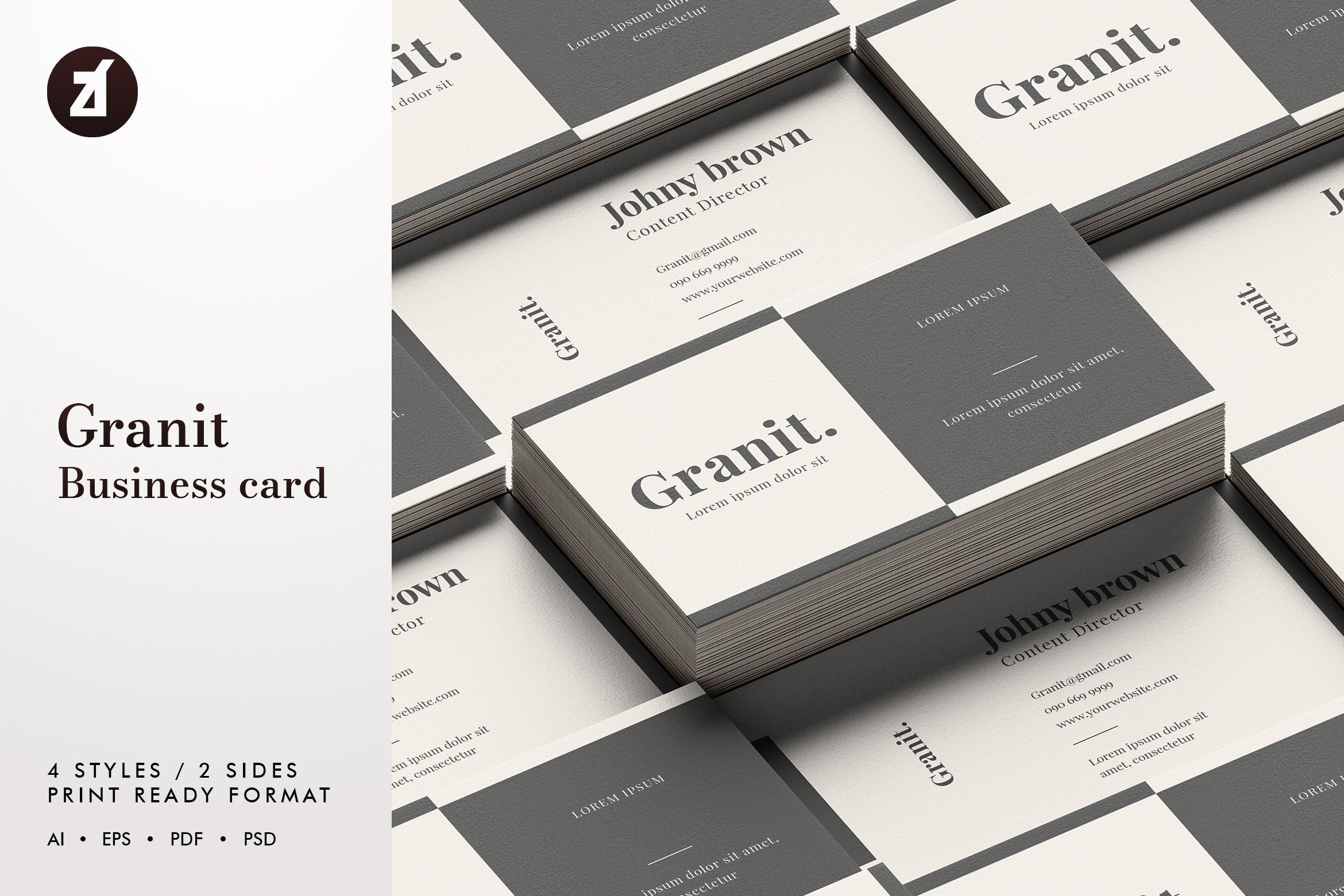 Granit Business Card Template Business Cards Creative Templates Modern Business Cards Business Cards Creative