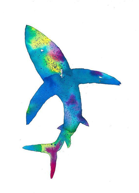 Shark art print poster sillouette minimalist by 2DogsArtAndPrints, $10.00