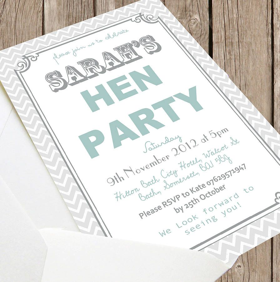 Personalised Grey \'Hen Party\' Invitations | Hens and Hens party ...