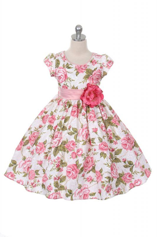 8080d65585385 Pink Beautiful Jacquard Floral Print Girl Party Dress (FREE SHIPPING ...