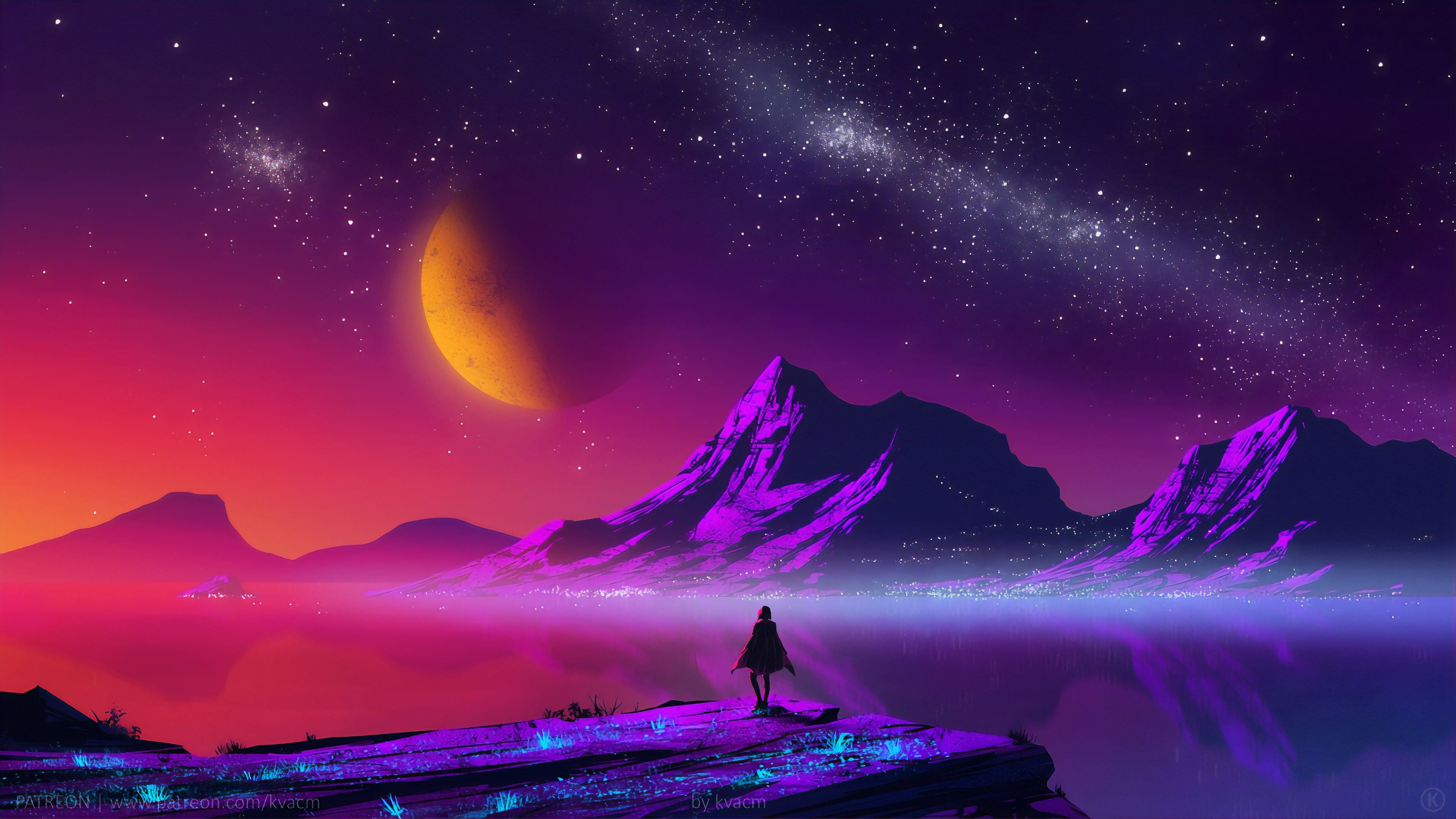 Digital Digital Art Artwork Fantasy Art Drawing Painting Digital Painting Kvacm Silhouette Traveller In 2020 Fantasy Landscape Painting Wallpaper Synthwave Art