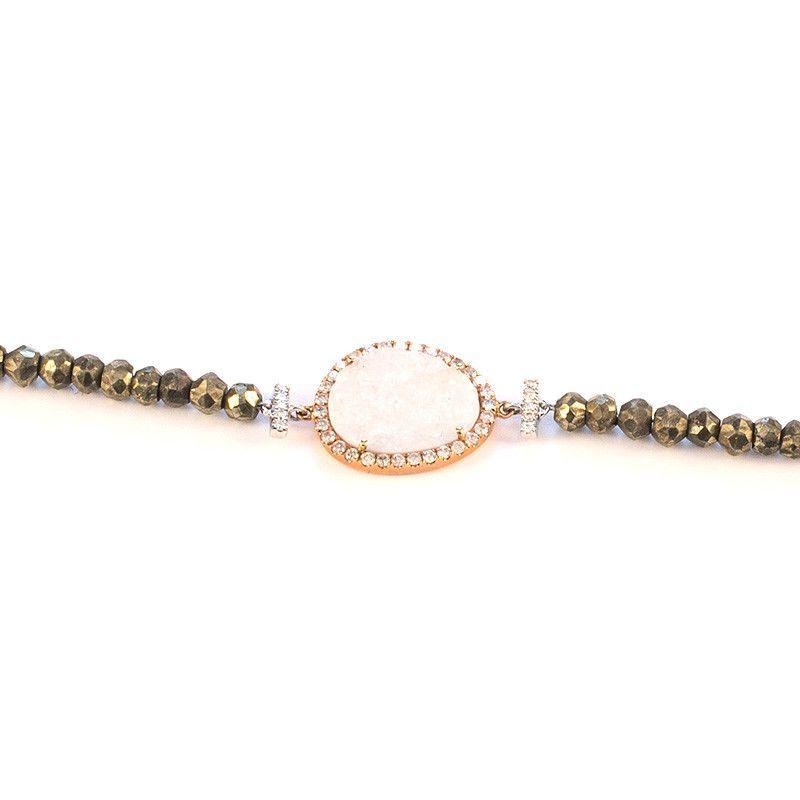 Rose Gold Druzy Diamonds and Pyrite Bead Bracelet