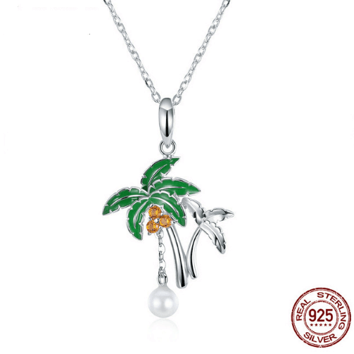 Palm Tree Pendant Necklace Bird Coconuts Tropical NEW 925 Sterling Silver