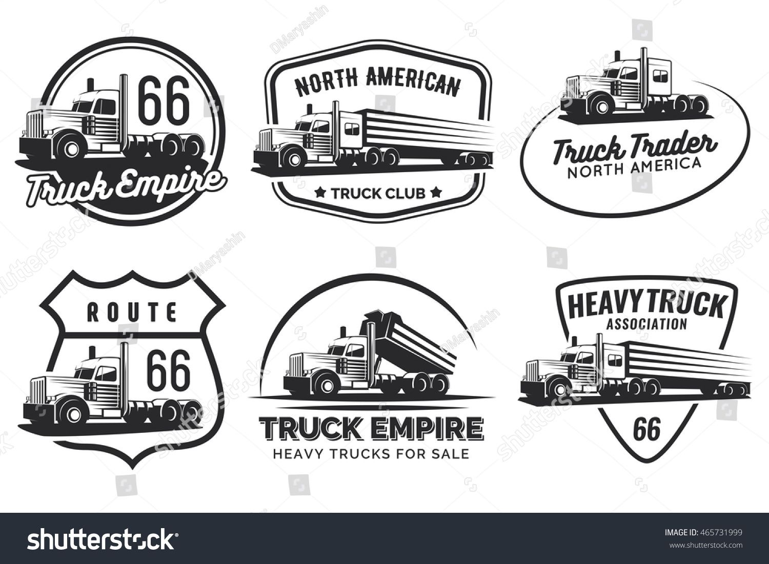 Set of classic heavy truck logo, emblems and badges. Truck