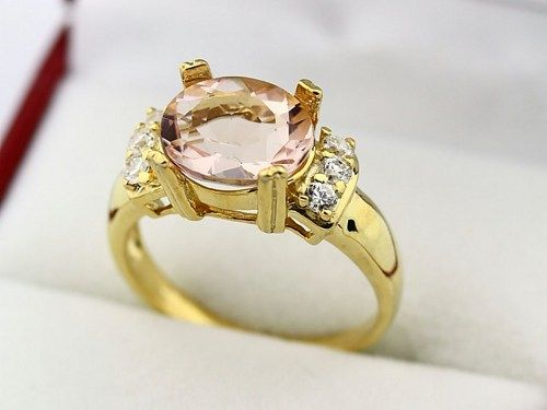 Stunning AAA Natural Morganite Solid 14K Yellow Gold Diamond Ring - See more stunning jewelry at StellarPieces.com!