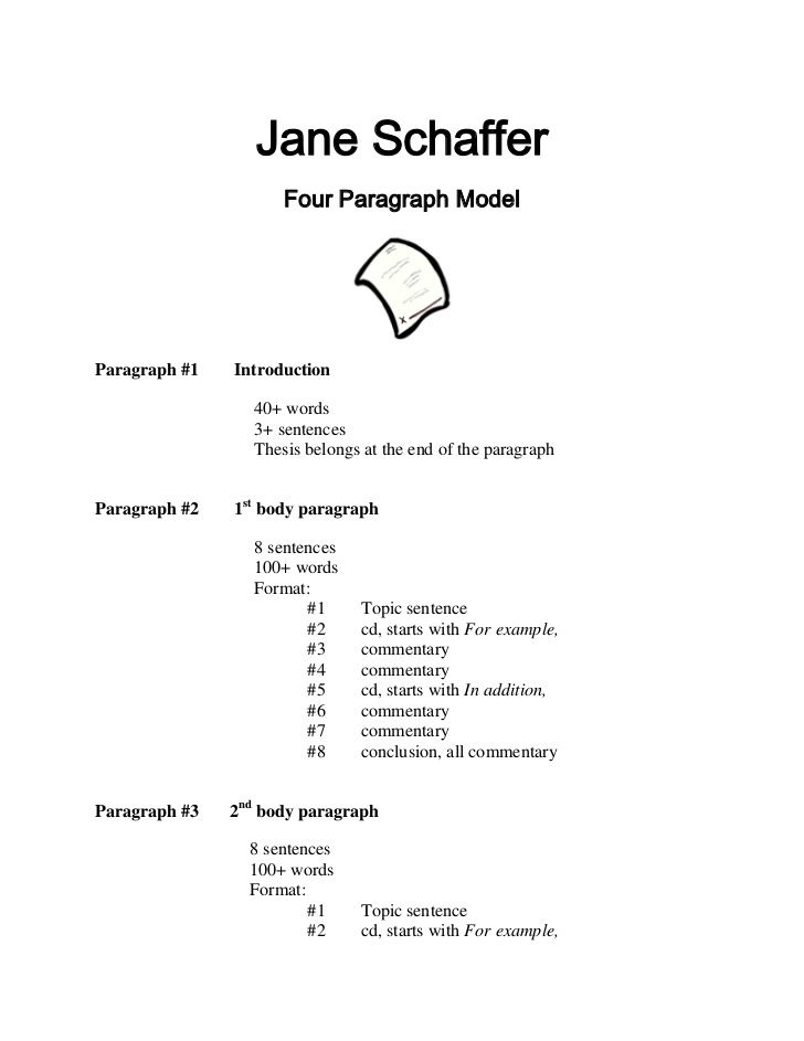 jane schaffer four paragraph modelparagraph introduction  2004 remember the essays you had to write in high school the conclusion being