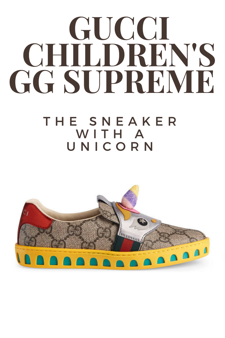 fc90042ed988f1 I'm so obsessed with unicorns! These Gucci Children's GG Supreme sneaker  with a unicorn on them are incredible. #afflink