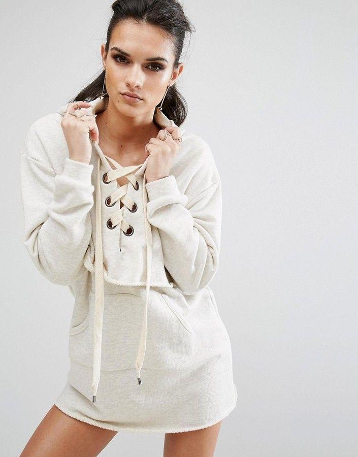 Kendall + Kylie Long Sleeve Sweatshirt Dress   Sweatshirt