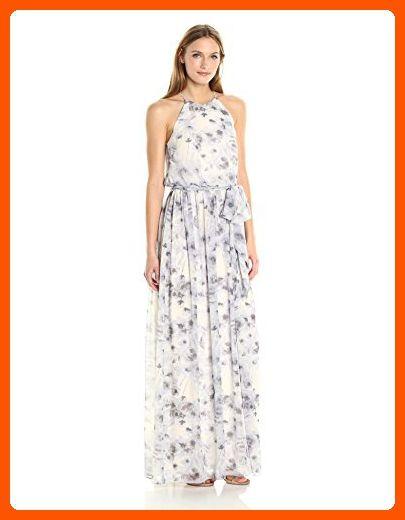 Donna Morgan Women\'s Alana Floral Halter Gown, Lavender, 10 - All ...