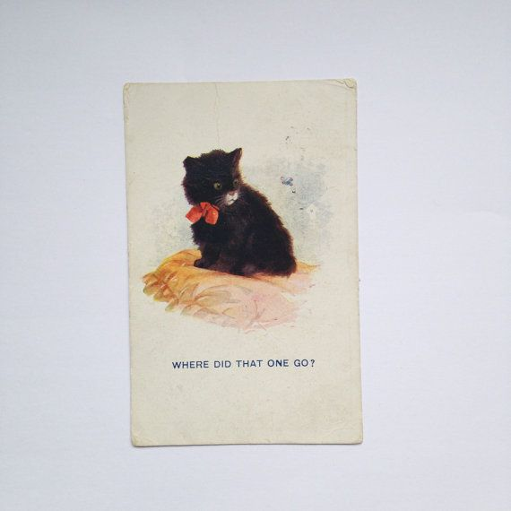 Vintage Art Deco Black Cat Kitten Postcard