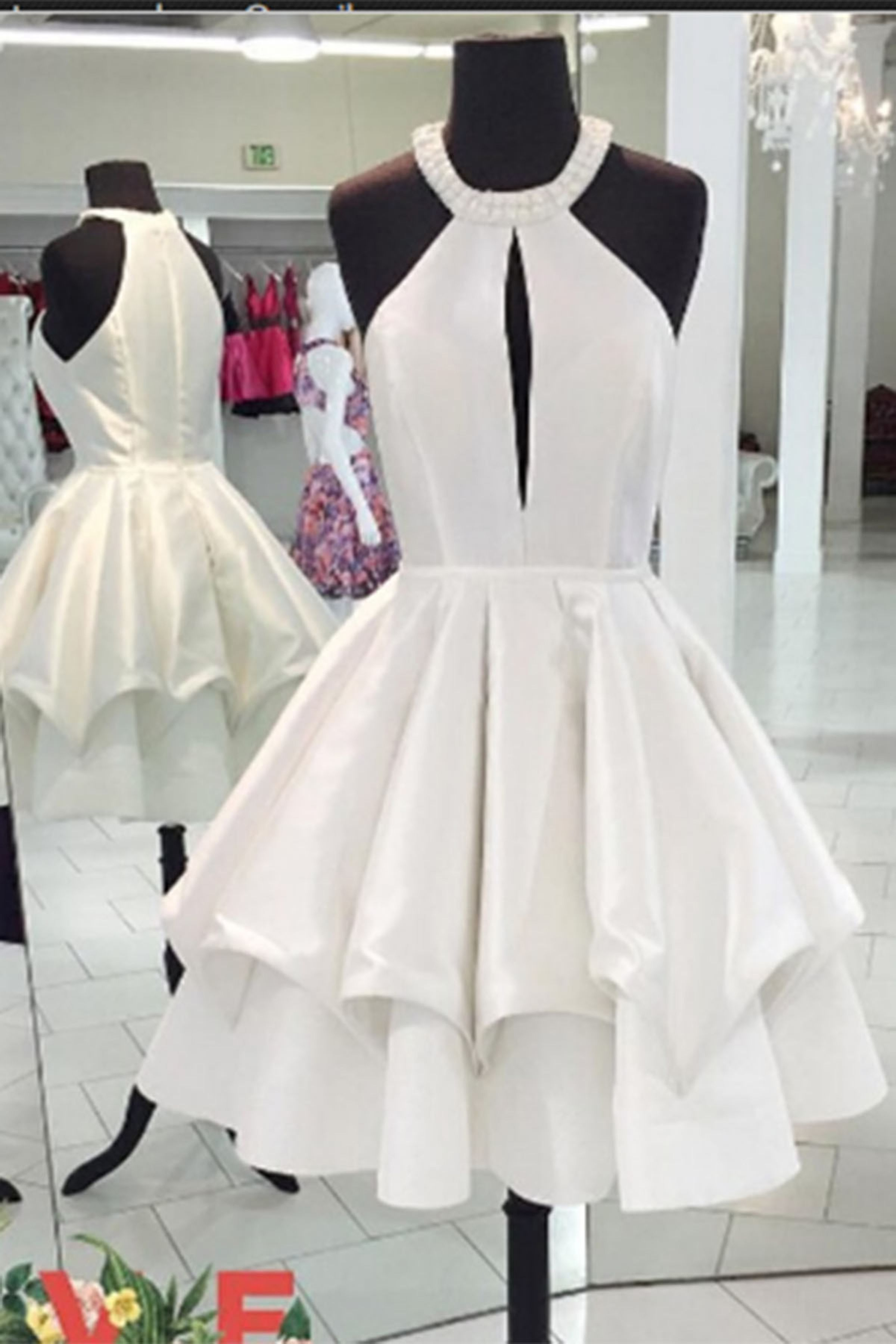 Short prom dress halter prom dress cute white chiffon prom dress