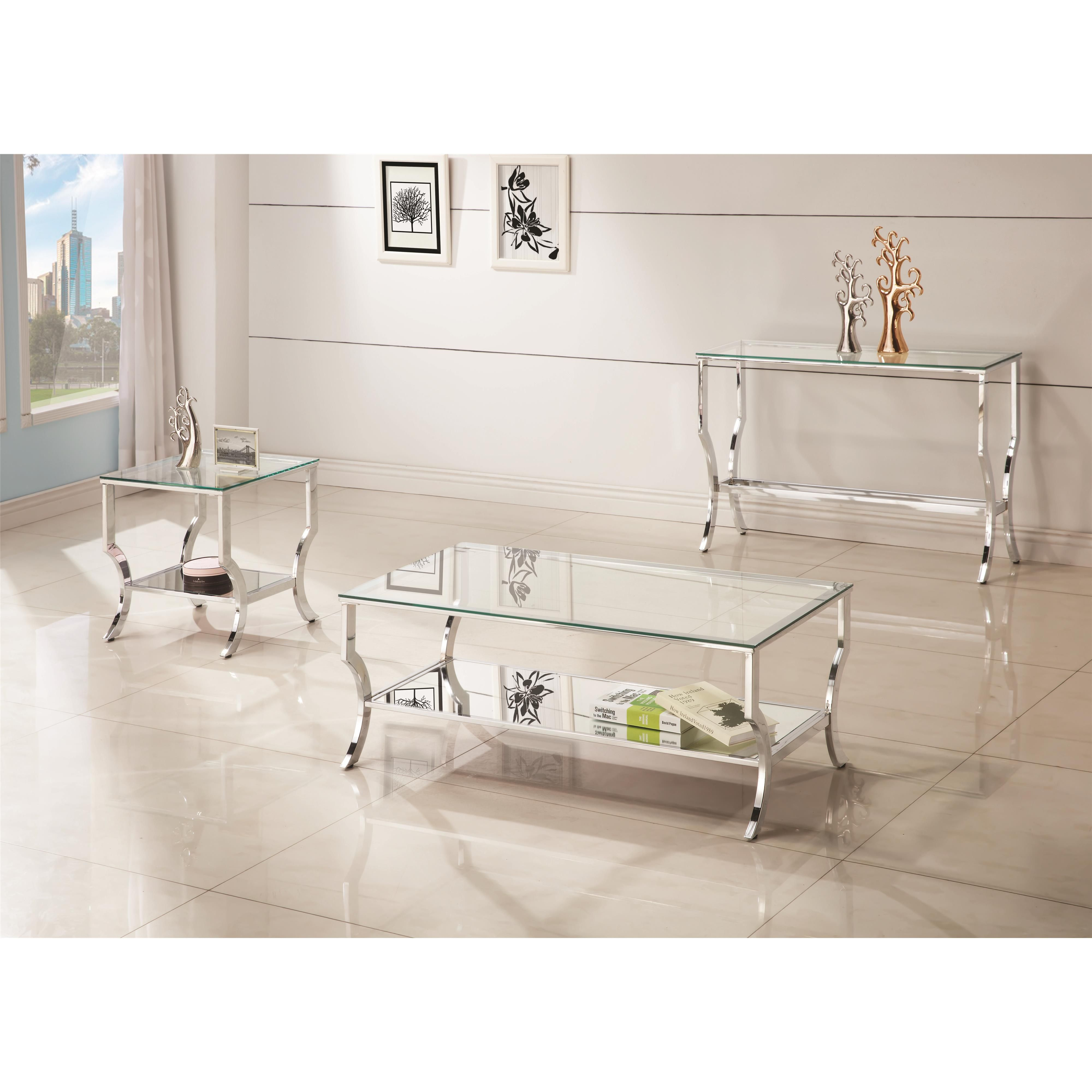 Groovy Coaster 72033 Metal Coffee Table With Glass Top And Mirrored Dailytribune Chair Design For Home Dailytribuneorg