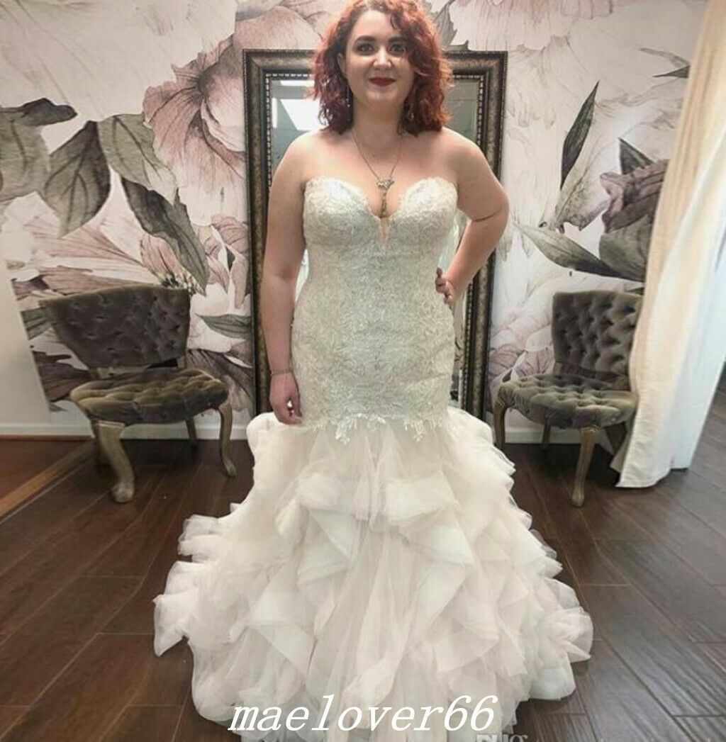 Details About Romantic Plus Size Mermaid Wedding Dress