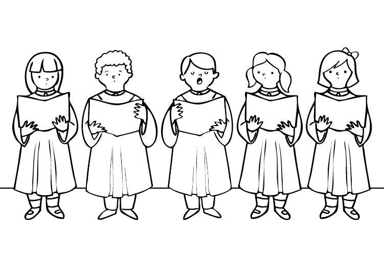 Los Ninos Del Coro Dibujo Para Colorear E Imprimir Ninos Cantando Dibujos Para Colorear Ninos Bailando