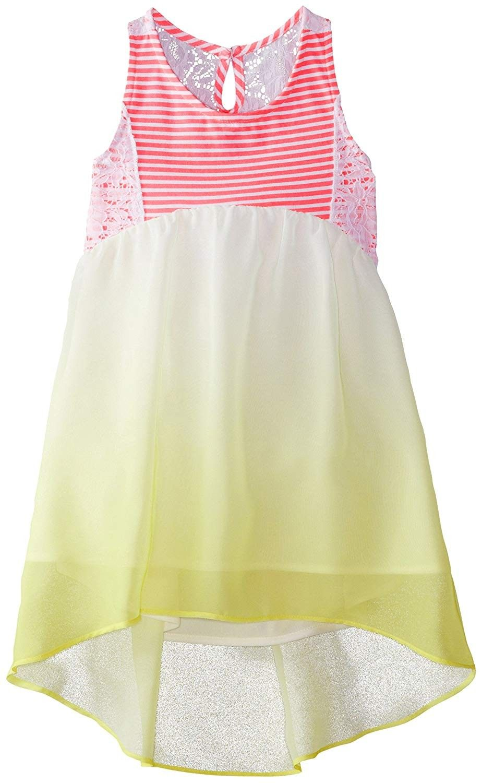 0a18ec0b6ddab Little Girls' Striped Knit to Ombre Chiffon Dress - Yellow/Pink -  C311U9BB2VD - Girls' Clothing, Dresses, Casual #Casual #Girls' #Clothing # # Dresses # # ...