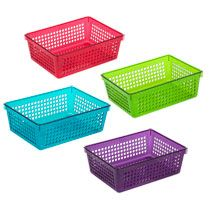 Bulk Colorful Rectangular Slotted Plastic Storage Baskets At Dollartree